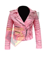 1061 WOMEN'S LADIES MOTORBIKE STUDDED CLUB STYLE PINK COWHIDE LEATHER JA... - $198.99