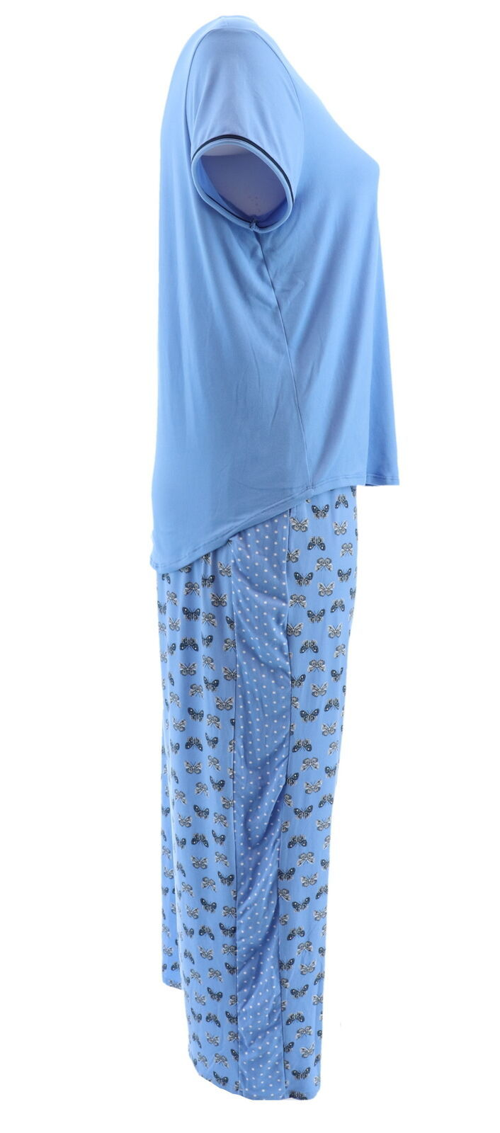 Carole Hochman Batik Floral 3 Pc Pajama Set Viola Purple 1X NEW A346781
