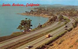 SANTA BARBARA CALIFORNIA CRESCENT COASTLINE~US ROUTE 101~POSTCARD 1962 P... - $6.36