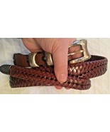 BRAIDED WOVEN Brown Leather Braided Belt w/ Buckle SIZE 38 - $14.80