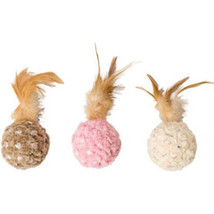Ethical Assorted Chenille Chaser Feather Ball Cat Toy 5in - $20.76 CAD