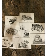 Vintage Sandra Jordan Artist Sketch Drawing Stationary Cards 8 Animals Rare - $48.78