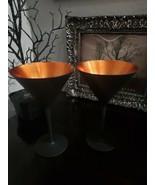 (2) Halloween Black Matte Orange Stemware Wine Glasses - $39.99