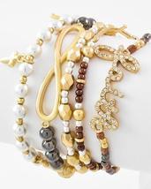 Rhinestone Cross Infinity Sign Word Faith 5 Pc Stretch Bracelet Set Multi Tone - $19.00