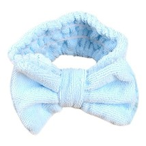 Hair Band Makeup Hair Wash A Face With Hair Hoop Bowknot Headdress(Blue) image 2