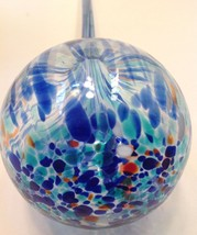 "BLUE BLOWN GLASS PLANT WATERING SPHERE 11"" #1 - $10.84"