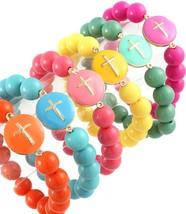 Trendy Cross Bracelet Choice of Turquoise Coral Fuschia Green Yellow Ora... - $8.97