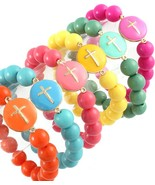 Trendy Cross Bracelet Choice of Turquoise Coral Fuschia Green Yellow Ora... - $8.97