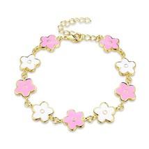 White & Pink Enamel Clover Bracelet in 14K Gold - $12.35
