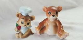 TWO CUTE TEDDY BEAR FIGURINES Vintage Porcelain Animal Figurine CHEF Nap... - $5.72