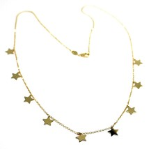 """SOLID 18K YELLOW GOLD NECKLACE WITH 7mm FLAT PENDANTS STARS, ROLO CHAIN, 18"""" image 1"""