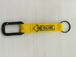 RESCUE Keychain Embroidered Fabric Screen Keyring Color BACK RESCUE Keyc... - $8.60