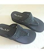Rhinestone Flip Flops Sandals Bling Black Wedge Thong Fashion Beach Casu... - $29.99