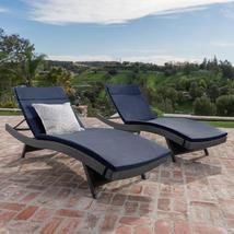 Salem Grey 4-Piece Wicker Outdoor Chaise Lounge with Navy Blue Cushions - $763.00