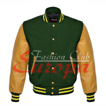 Original American Varsity Real Leather Letterman College Green Wool Jacket - $87.00