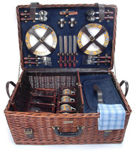 RIVIERA COLLECTION WILLOW PICNIC BASKET DELUXE FOR FOUR (4) - A - $136.00