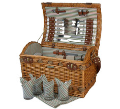 COUTURE COLLECTION WILLOW & SEAGRASS DELUXE PICNIC BASKET FOR FOUR (4) - B - $115.00