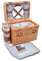 BRIO COLLECTION WILLOW & WOOD DELUXE PICNIC BASKET FOR TWO (2) - B - $103.00