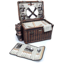 ENCHANTED EVENING COLLECTION WILLOW DELUXE PICNIC BASKET FOR FOUR (4) - A - $119.00