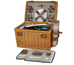 ENCHANTED EVENING COLLECTION WILLOW DELUXE PICNIC BASKET FOR FOUR (4) - B - $119.00