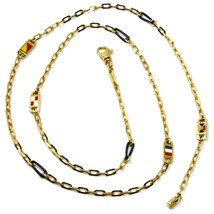 18K YELLOW GOLD CHAIN NECKLACE OVAL LINK 2 MM, 20 INCHES, NAUTICAL ENAMEL FLAGS  image 1