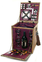 TUSCAN CARRIER WILLOW DELUXE PICNIC BASKET WITH BBQ TOOLS FOR FOUR (4) - $129.00