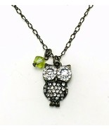 American Eagle Outfitters AEO Antiqued Bronze Rhinestone Owl Pendant Necklace - $13.86