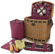 TUSCAN ELITE WILLOW DELUXE PICNIC BASKET WITH BBQ TOOLS FOR FOUR (4) - $129.00