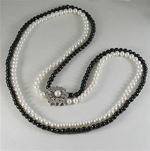 SOLID 18K WHITE GOLD NECKLACE WITH ROUND PEARLS, ONYX AND DIAMONDS MADE IN ITALY image 6
