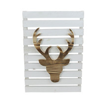 "Northlight 15.75"" Wood Deer White Pallet Inspired Frame Christmas Wall H... - $21.77"