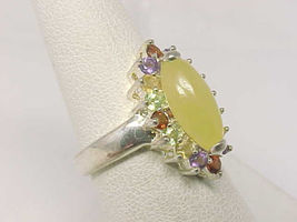 Colorful Genuine Multi-Gemstones RING in Sterling Silver - Size 7 1/4 - Signed image 3