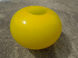 VINTAGE LARGE LIGHT GLOBE Mid Century Modern Glass Fixture Canary Yellow - $98.99