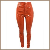 Bright Orange Tight Fit Faux Leather High Waist Front Zip Up Legging Pencil Pant image 2