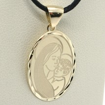 SOLID 18K YELLOW GOLD VIRGIN MARY AND JESUS OVAL MEDAL, 0.8 INCHES, ITALY MADE image 1