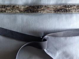 NWOT Anthropologie Shimmering Waves Silver Beaded Grey Suede Tie Belt M/... - $27.00