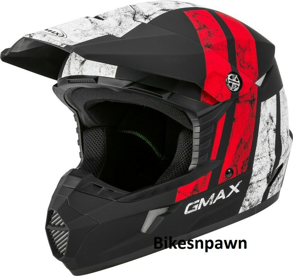 New Youth L Gmax GM46 Dominant Matte Black/White /Red Offroad Helmet DOT