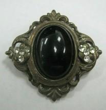Black ebony stone with clear rhinestones brooch - $14.84