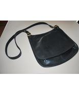 Black Leather Saddle Bag Handbag Purse Gold Buc... - $34.95