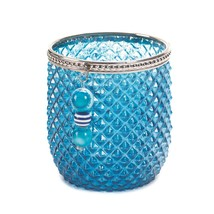 Candle Holder, Decorative Jar Candle Holders, Blue Round Glass Candleholder - $18.99