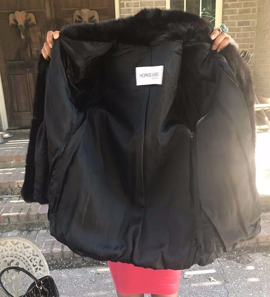 Designer Hopper Furs Dark sable brown hue Mink Fur Coat Jacket stroller S-M 0-4