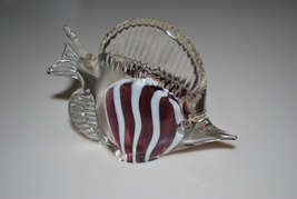 Art Glass Fish Purple White Stripes Murano Styl... - $14.95