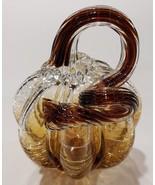 Art Glass Pumpkin Sculpture Figurine Amber Clear Harvest Fall Home Decor... - $24.95