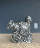 1981 June Lunger Pewter The Squirrel Franklin Mint Woodland Animal Mini Figurine - $15.88