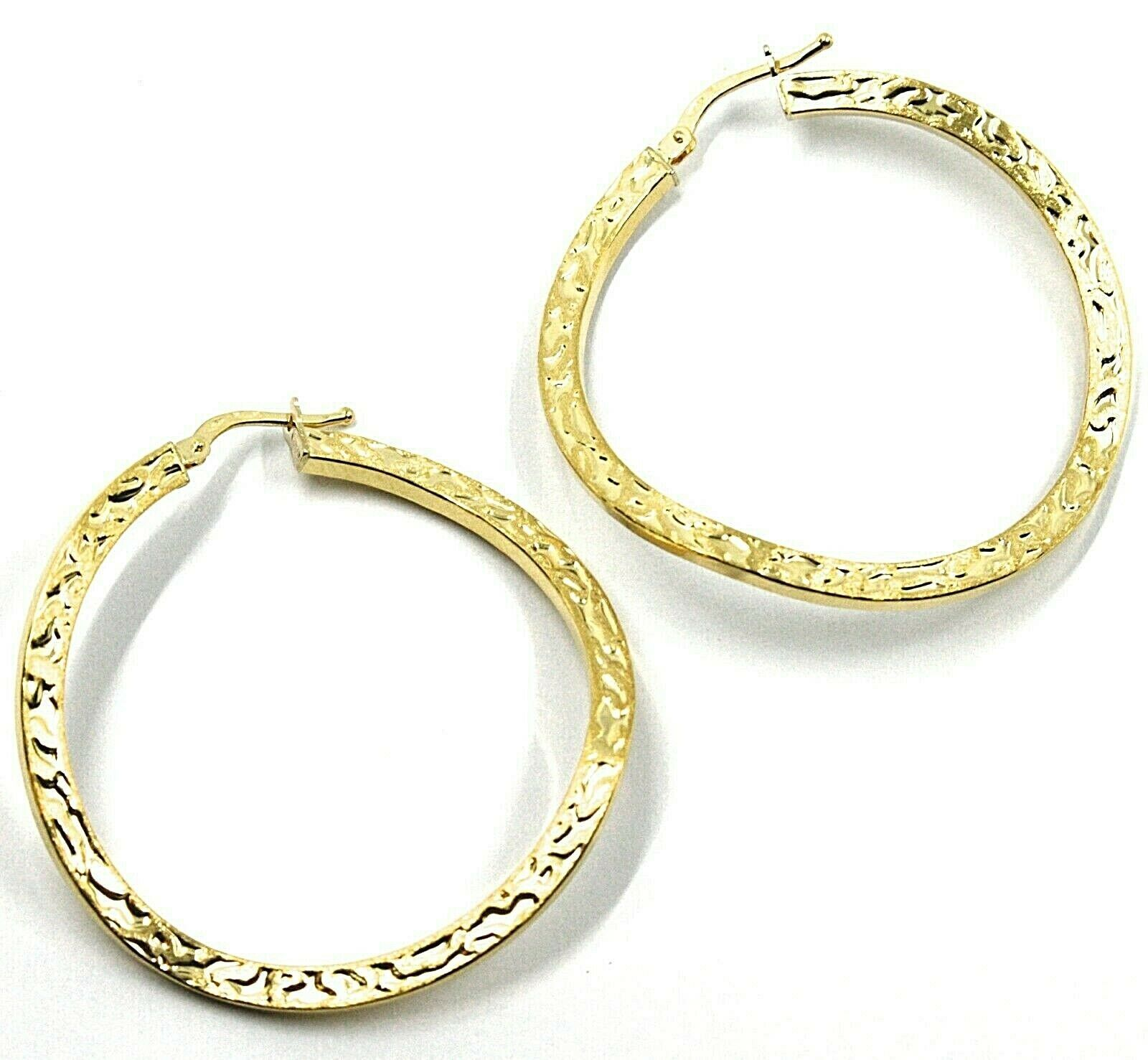 18K YELLOW GOLD CIRCLE HOOPS PENDANT EARRINGS, 4 cm x 2 mm WORKED & ONDULATE