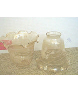 Pair of Vintage Amber Light Fixture Shade Globe Floral Textured Ruffled - 1990's - $9.74