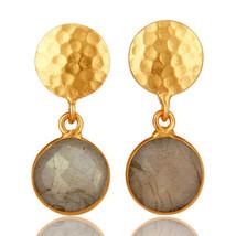 Labradorite Womens Dangle Earrings 18K Gold Plated Brass Fashion Jewelry - $13.86