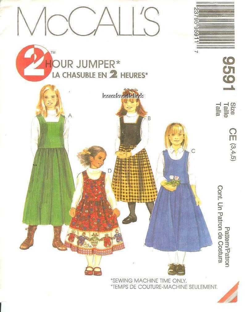 Primary image for McCall's #9591 Girls' Jumper Pattern Size 3,4,5 UNCUT FF
