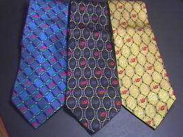 Buffalo Bay New Balance Silk Neck Ties Three Black Blue and Yellow Promotional - $16.99