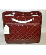 NWT AUTHENTIC Chanel Chic Glitter Patent Leather Tote Bag Burgundy Borde... - $2,500.00