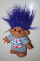 "Troll Thomas DAM Purple Blue Hair Bats Over Baseball 5"" 6"" 1986 Norfin - $14.95"